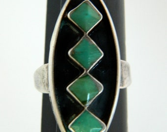 Native American Old Pawn Navajo Green Turquoise Sterling Silver Handmade Ring  Size 7