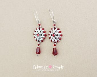 Beaded Earrings Tutorial - Victorian Earrings - Superduo Earrings Pattern - PDF pattern