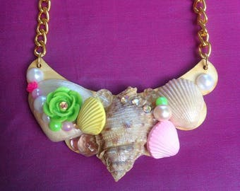 Seashell Kawaii Statement Necklace, mermaid, beach, sweet lolita, fairy kei, gyaru, girly, chunky, Harajuku