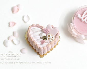 RESERVED for Lisa-Pink Heart Shaped Charlotte Cake -Valentine's- in 1/12th miniature dollhouse Cake