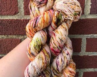 Indian corn, fall sock yarn, speckled yarn, hand dyed yarn, speckled sock yarn, colorful yarn, indie dyed yarn, knitter gift, indi