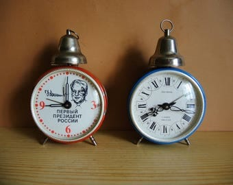 ONE!!! Russian Alarm Clock / 1st president of Russia Boris Yeltsin or Blue case / Soviet mechanical alarm clock / Made in USSR / home decor