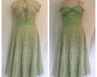 FLASH SALE Vintage 1940's Light Green Dress with Lace