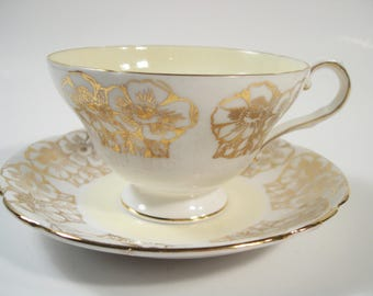 Stanley Tea Cup and Saucer,  Stanley Floral Teacup and Saucer.