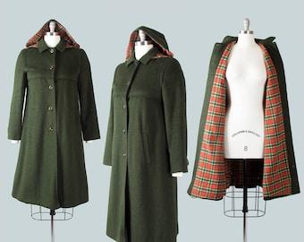 Vintage 1970s Coat   70s Hooded Wool Plaid Dark Green Removable Hood Winter Coat (small)