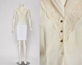 sheer parchment pleated blouse vintage 1950s • Revival Vintage Boutique