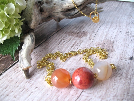 Beaded Statement Necklace in Rose Agate and Sponge Coral with Gold Plated Link Chain and Gold Plated Lobster Clasp, Black Friday Sale