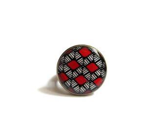 RED ring - BOHO RING - Shield Ring - Tribal Ring - Ethnic Ring - Big Boho Ring - Boho Jewelry - Tribal Jewelry - Ring for Women - for her