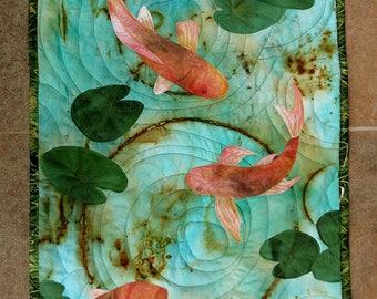 Hand painted fabric art quilt, wallhanging  - Rusty Koi - fiber art