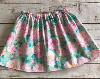 Girls Handmade Pink Peonie Skirt - Pink Skirt - Peony Flower - 100% Cotton Skirt - Newborn to 10/12 girls - Floral Skirt
