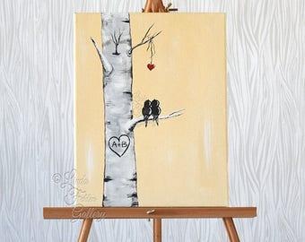 Personalized Canvas Painting Aspen Tree Painting Love Bird Painting Birch Tree Art Love Art Custom Wedding Gifts for Couple Romantic Gift
