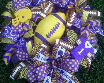 Sale Reg. 65.00 now 58.00 Purple Gold Football Wreath, Gameday Wreath, Ready.to Ship, Tigers Wreath