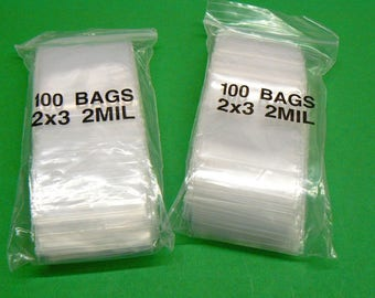 Clear Poly Bags 100 count 2 in x 3 in  2mil  Zip Lock