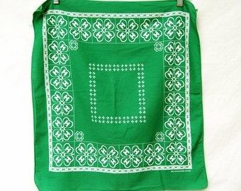 Vintage Rare 4-H Club Green Bandana USA Made Cotton 4H Hankerchief Handkerchief Scarf Kids Organizations