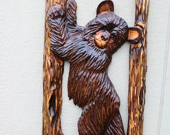 Ends Thursday New Chainsaw Carved bear against a tree 32 to 34 inches tall cedar wood stump burned art hand carved wooden sculpture hand