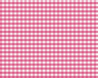 "Pink Gingham by Riley Blake Designs, pink fabric, pink squares, fabric by the yard, Medium 1/4"" gingham"