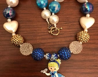Princess Cinderella inspired Chunky Bubble Gum Necklace -2 Styles (Child/Toddler)