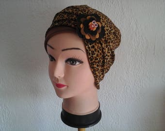 Reversible, stretchable chemo hat, leopard, season, summer, wife, daughter