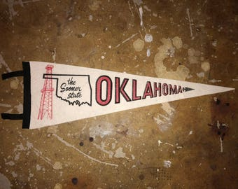 Vintage Oklahoma The Sooner State 1960s Pennant,  Good Condition