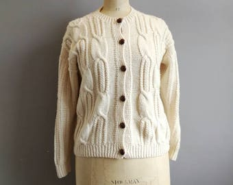 Cream cable cardigan / hand knitted cardigan with brown buttons / women's fisherman's cream cardigan / boho hand knit size 10
