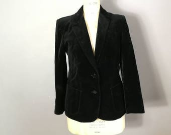 Black velvet jacket / St Michael's vintage velvet jacket / velvet women's blazer / 80s velvet jacket / UK 10