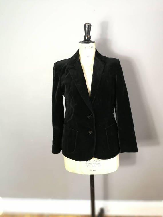 Black velvet jacket / St Michael's vintage velvet jacket / velvet women's blazer / 80s velvet jacket / UK 10
