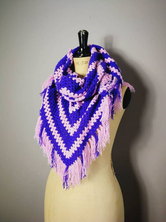 Vintage 70s shawl / hippie crocheted large triangle scarf / boho wool wrap scarf with fringing / pink purple striped shawl / retro cape