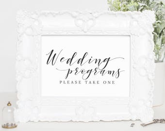 Printable Wedding Sign, Wedding Program Sign Template, Calligraphy Wedding Sign, Wedding Program Template Download, Wedding Program, WP007_9