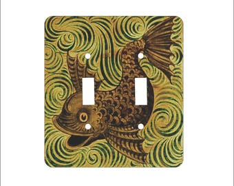 Metal Fish Double Light Switch Cover - Fish Switch Plate - 2T Double Switch Plate - William Morgan Fish Brown and Gold