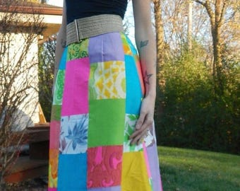 Funky vintage Calypso 1960's patchwork maxi/ resort/ couture  skirt