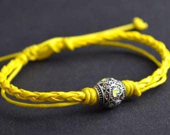 Yellow heart leather bracelet