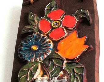 Large 1960's Ceramic and Wooden Wall Plaque
