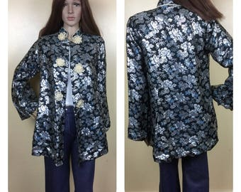 Sale Mandarin  Chinese Jacket ,  embroidered novelty Duster kimono