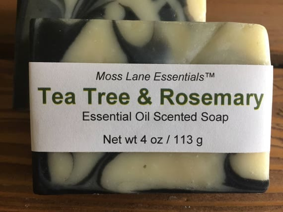 Tea Tree and Rosemary Essential Oil Scented Activated Charcoal Cold Process Soap with Shea Butter