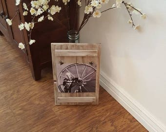 Homemade Rustic Wood Frame 9x8 or 5x7 picture
