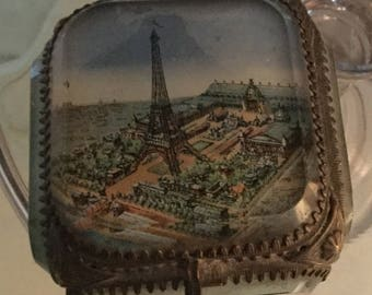 Vintage French glass jewelry box with Eiffel Tower picture