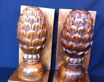 Wood bookends etsy for Pineapple carving designs
