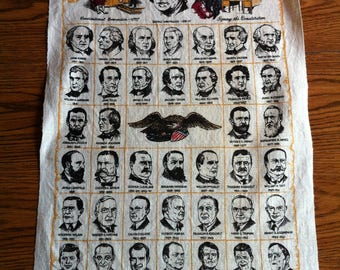A Linen Towel Titled Presidents Of The United States - George Bush Last President On Towel
