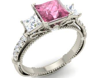 Pink Tourmaline Ring, 14K Gold, Princess Cut, Anniversary Ring, Wedding Ring, Three Stone Ring, Unique Engagement Ring, Pink Tourmaline Ring