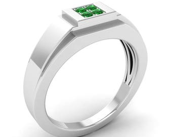 Natural Emerald Engagement Ring In White Gold | Mens Emerald Engagement Ring | 14K Gold Mens band | 4 Emerald Mens Ring