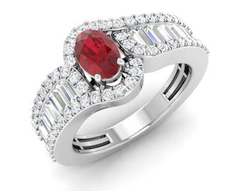 Oval Cut Ruby Ring | Ruby Engagement Ring With Diamond 14K White Gold, Rose Gold | 1.31 Total Carat Halo Ring | Certified AAA Ruby Rings