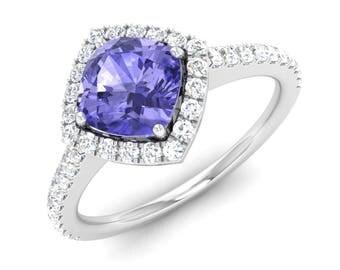 Natural Tanzanite Engagement Ring, Halo Ring, 14K White Gold, Cushion Cut, Anniversary Ring, Wedding Ring, Tanzanite Ring, Women Gold Ring