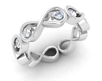 Diamond Eternity Ring, 14K White Gold, Diamond Engagement Ring, Wedding Ring, Anniversary Ring, Forever Ring, Promise Ring, Diamond Ring