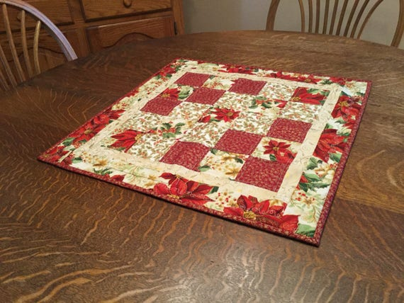 Quilted christmas table topper, christmas table topper,poinsettia table topper, quilted table topper, christmas candle mat, candle mat