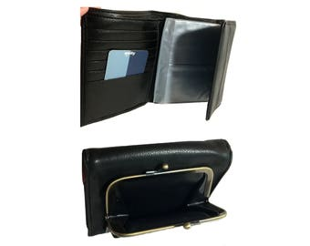 New-Vintage Amity Wallet, Unused, 1980s Women's Coin Purse Wallet, Black Vegan Leather Bi-Fold Wallet Change Purse, ID Holder, Cards, Photos