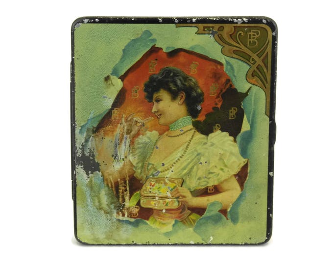 French Art Nouveau Woman Portrait Biscuit Tin Box. Small Antique French Candy Litho Box. Belle Epoque Advertising for Pernot Biscuits.