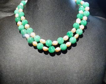 Pearl Chrysoprase Necklace 30 Inches Long Vintage