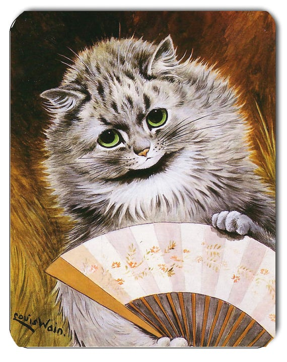 Louis Wain Cat with Fan Mouse Mat Mouse Pad