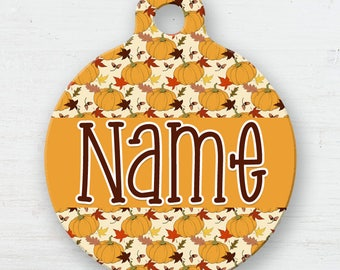 Autumn Pumpkins Pet Tag - Fall Personalized Tag - Double Sided - Name Tag - Leaves - Fall Weather - Harvest - Cute Fall Pet Tag - Cat - Dog