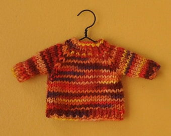 Sunset Colors Variegated Hand-Knit Sweater Ornament